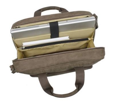 Laptoptasche aus Leder mit Logo-Prägung - Produktbild