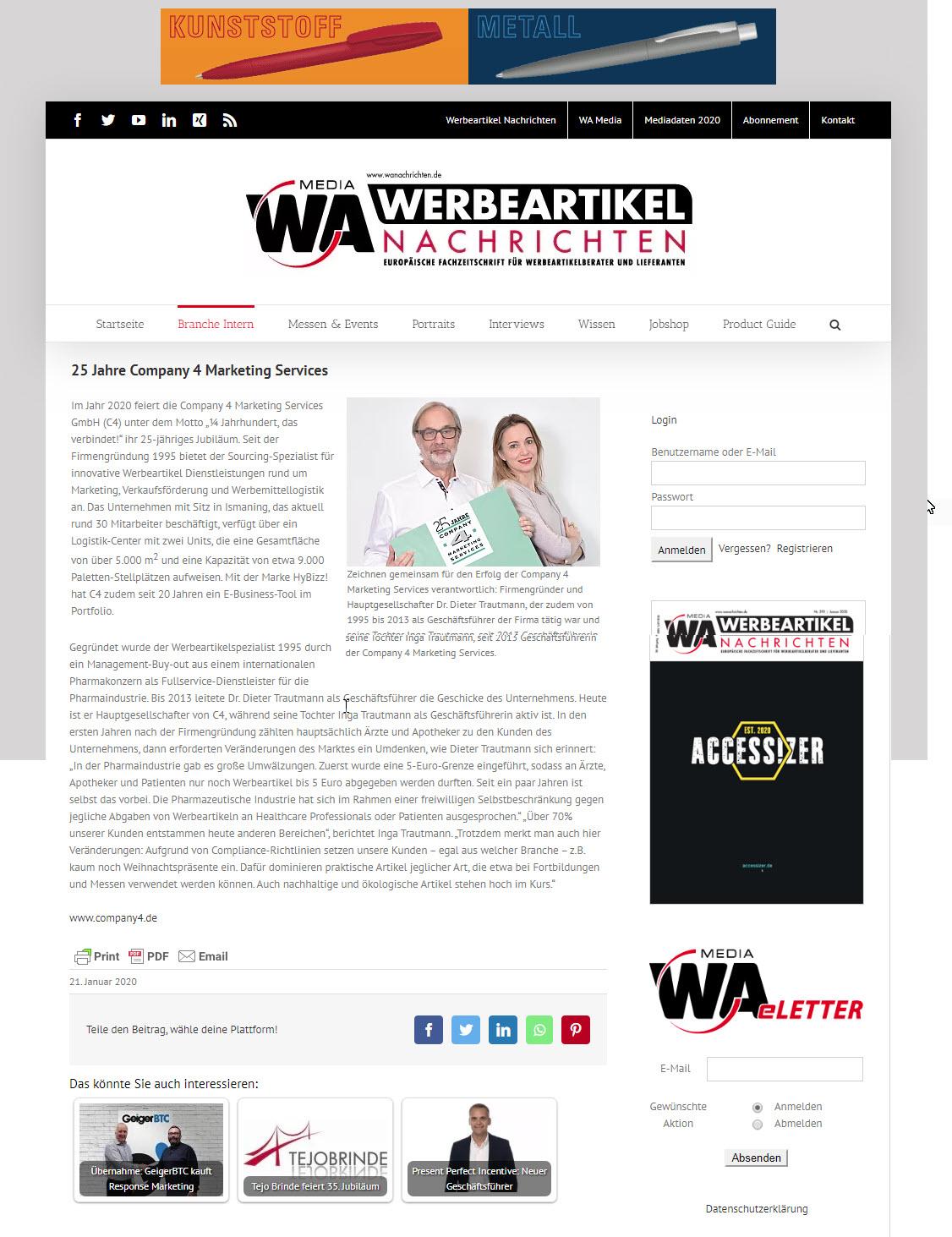 WA-Nachrichten Newsletter 01 2020